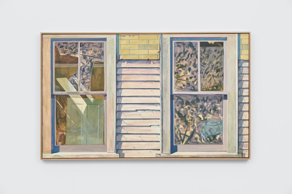 Lois Dodd, Two Windows, Clapboard Siding, 1987, oil on linen, 91.4 x 152.4 cm, 36 x 60 ins. Photo: Ben Westoby. © the artist. Courtesy Modern Art, London & Alexandre Gallery