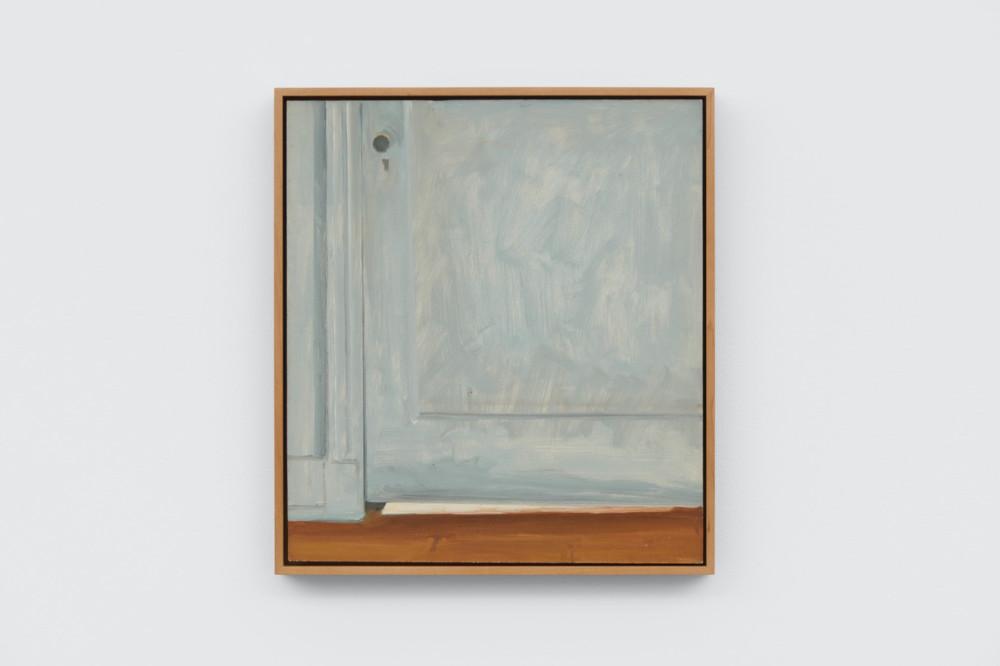 Lois Dodd, Light Under Door, 1984, oil on Masonite, 34.3 x 30.5 cm, 13 1/2 x 12 ins. Photo: Ben Westoby. © the artist. Courtesy Modern Art, London & Alexandre Gallery
