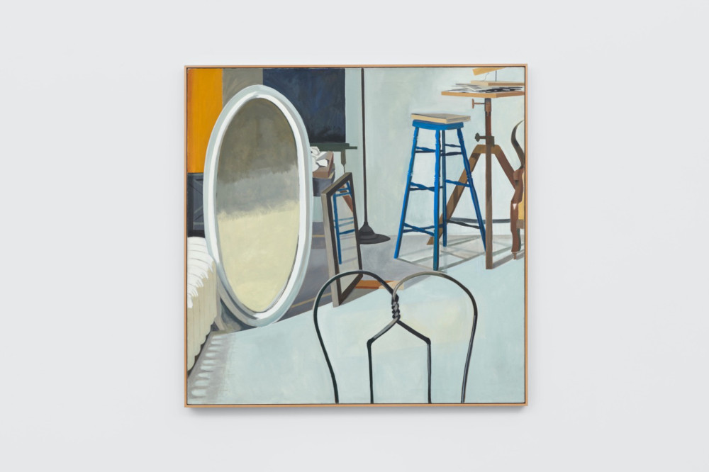 Lois Dodd, Oval Mirror, Wire Backed Chair, 1972, oil on linen, 137.2 x 137.2 cm, 54 x 54 ins. Photo: Ben Westoby. © the artist. Courtesy Modern Art, London & Alexandre Gallery