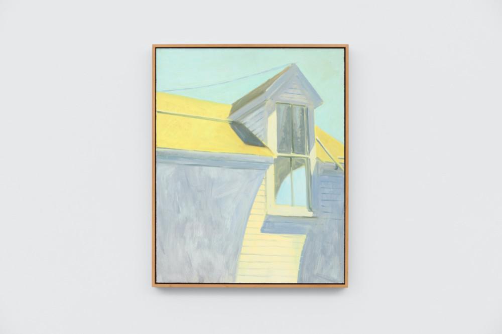 Lois Dodd, Dormer, Yellow + Blue + Lavender, 1985, oil on Masonite, 50.8 x 40.6 cm, 20 x 16 ins. Photo: Ben Westoby. © the artist. Courtesy Modern Art, London & Alexandre Gallery