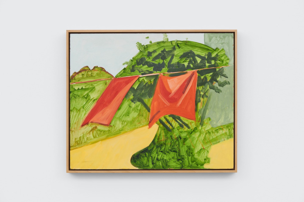 Lois Dodd, Red Curtains and Lace Plant, 1978, oil on Masonite, 38.1 x 45.7 cm, 15 x 18 ins. Photo: Ben Westoby. © the artist. Courtesy Modern Art, London & Alexandre Gallery