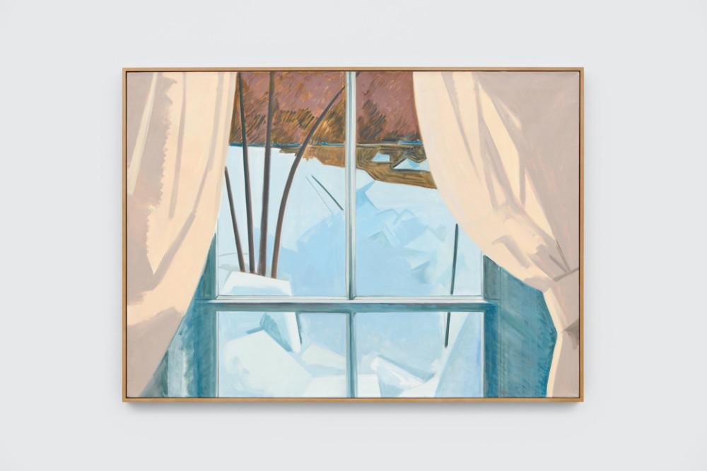 Lois Dodd, Ice in Window, 1982, oil on linen, 91.4 x 127 cm, 36 x 50 ins. Photo: Ben Westoby. © the artist. Courtesy Modern Art, London & Alexandre Gallery