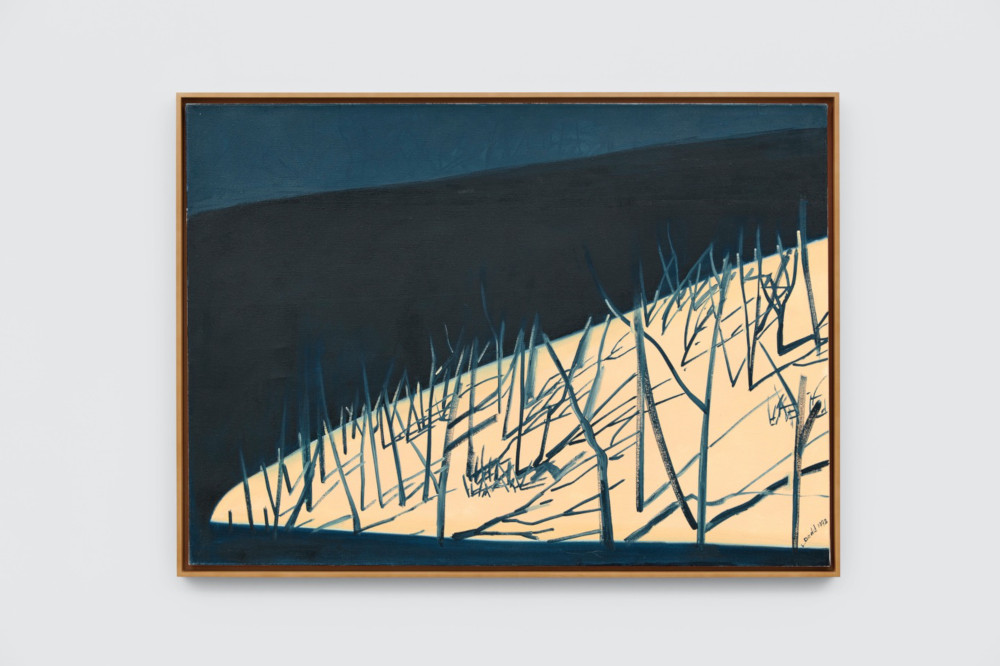 Lois Dodd, Headlights and Hillside, 1992, oil on linen, 91.4 x 127 cm, 36 x 50 ins. Photo: Ben Westoby. © the artist. Courtesy Modern Art, London & Alexandre Gallery
