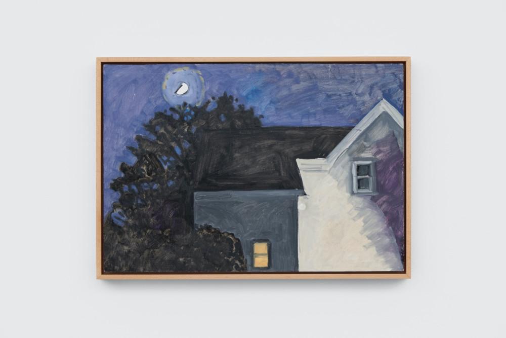 Lois Dodd, Moon + Doorlight, 2012, oil on Masonite, 27.9 x 40.6 cm, 11 x 16 ins. Photo: Ben Westoby. © the artist. Courtesy Modern Art, London & Alexandre Gallery