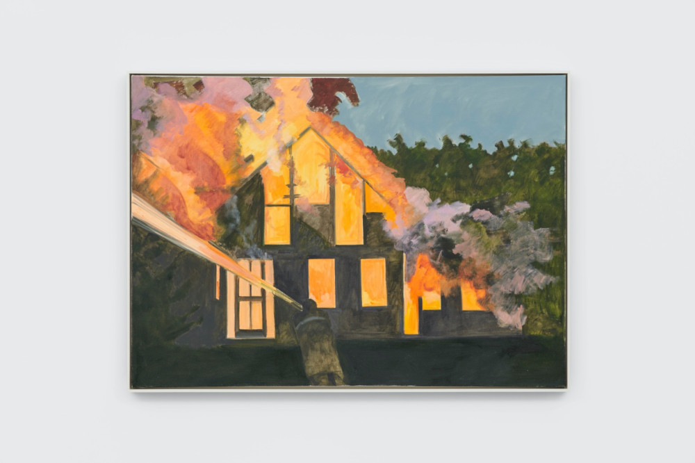 Lois Dodd, Burning House, Night, with Fireman, 2007, oil on linen, 116.8 x 162.6 cm, 46 x 64 ins. Photo: Ben Westoby. © the artist. Courtesy Modern Art, London & Alexandre Gallery
