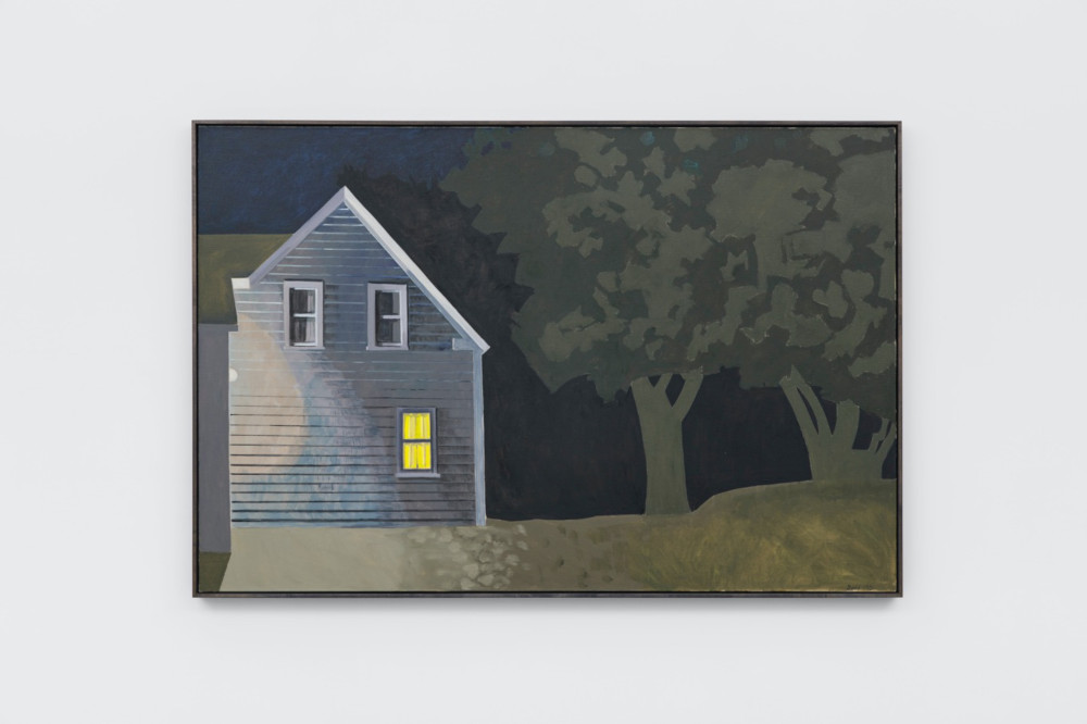 Lois Dodd, Night House with Lit Window, 2012, oil on linen, 121.9  x 182.9 cm, 48 x 72 ins. Photo: Ben Westoby. © the artist. Courtesy Modern Art, London & Alexandre Gallery