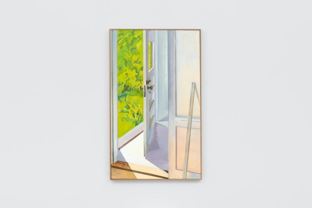 Lois Dodd, Front Door Cushing, 1982, oil on linen, 152.4 x 91.4 cm, 60 x 36 ins. Photo: Ben Westoby. © the artist. Courtesy Modern Art, London & Alexandre Gallery