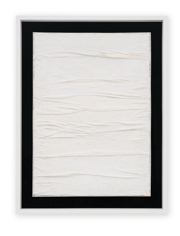 Piero Manzoni, Achrome, c. 1958 . Creased canvas and kaolin 70 x 50 cm / 27 1/2 x 19 5/8 in. Courtesy Fondazione Piero Manzoni, Milan and Hauser & Wirth. Photo: Jon Etter © Fondazione Piero Manzoni, Milan