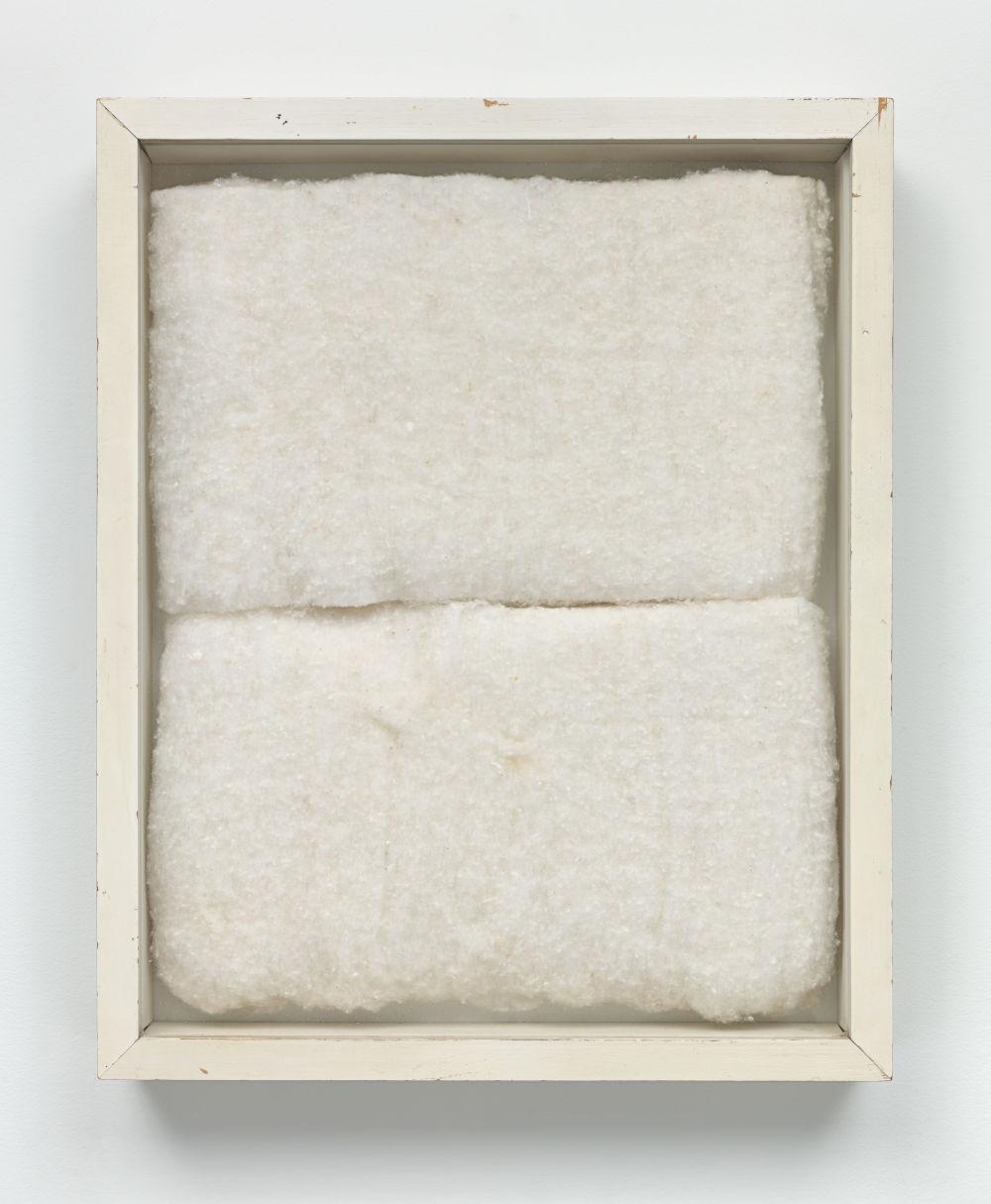 Piero Manzoni, Achrome, c. 1960. Cotton wool 31 x 25 cm / 12 1/4 x 9 7/8 in. Courtesy Fondazione Piero Manzoni, Milan and Hauser & Wirth. Photo: Genevieve Hanson © Fondazione Piero Manzoni, Milan