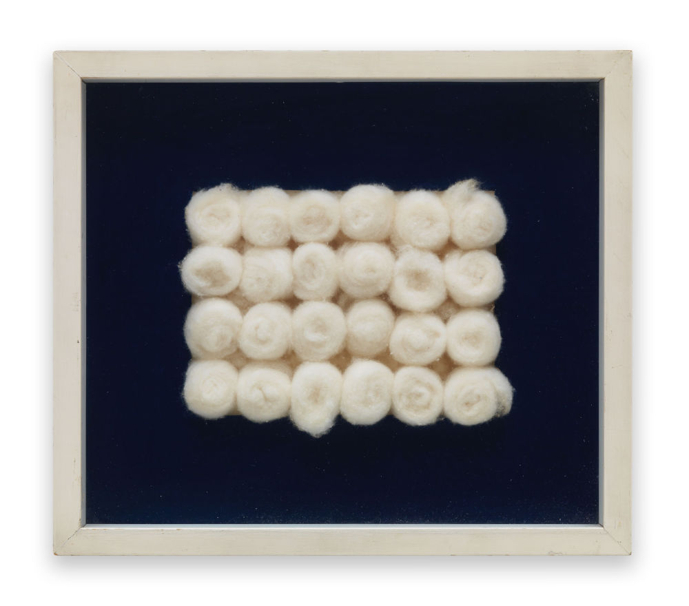 Piero Manzoni, Achrome, 1961 - 1962. Cotton wool balls 15 x 20 cm / 5 7/8 x 7 7/8 in (cotton). Private Collection. Courtesy Fondazione Piero Manzoni, Milan and Hauser & Wirth © Fondazione Piero Manzoni, Milan
