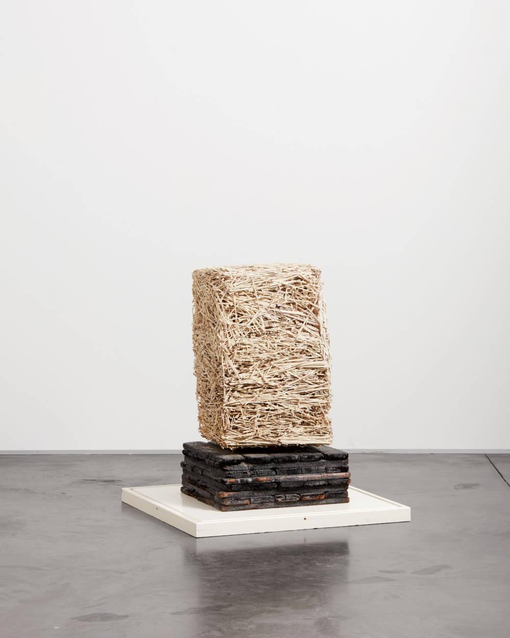 Piero Manzoni, Achrome, 1961. Straw, reflective powder and kaolin, burnt wooden base 68.3 x 45.8 x 44.5 cm / 26 7/8 x 18 x 17 1/2 in. Herning Museum of Contemporary Art (HEART) Photo: Søren Krogh © Fondazione Piero Manzoni, Milan