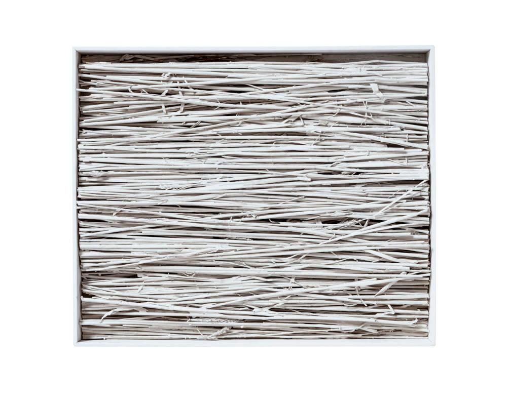 Piero Manzoni, Achrome, 1961. Straw, reflective powder and kaolin, burnt wooden base 68.3 x 45.8 x 44.5 cm / 26 7/8 x 18 x 17 1/2 in. Herning Museum of Contemporary Art (HEART). Photo: Søren Krogh © Fondazione Piero Manzoni, Milan