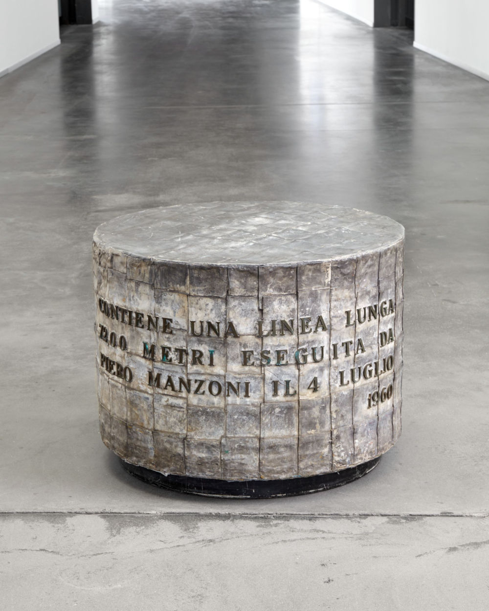 Piero Manzoni, Linea lunga 7200 metri (Long line 7200 meter), 4 July 1960. Ink on paper, zinc cylinder covered with sheets of lead 66 x 96 cm / 26 x 37 3/4 in 96 cm / 37 3/4 in HEART Herning Museum of Contemporary Art. Photo: Søren Krogh © Fondazione Piero Manzoni, Milano. Courtesy of the Foundation and Hauser & Wirth