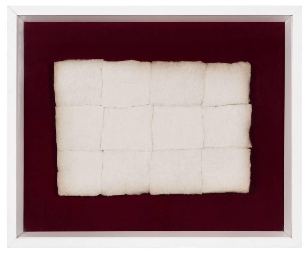 Piero Manzoni, Achrome, c. 1960. Cotton wool in squares 21 x 29 cm / 8 1/4 x 11 3/8 in 37 x 45 x 4.5 cm / 14 5/8 x 17 3/4 x 1 3/4 in (framed). Courtesy Fondazione Piero Manzoni, Milan and Hauser & Wirth © Fondazione Piero Manzoni, Milan