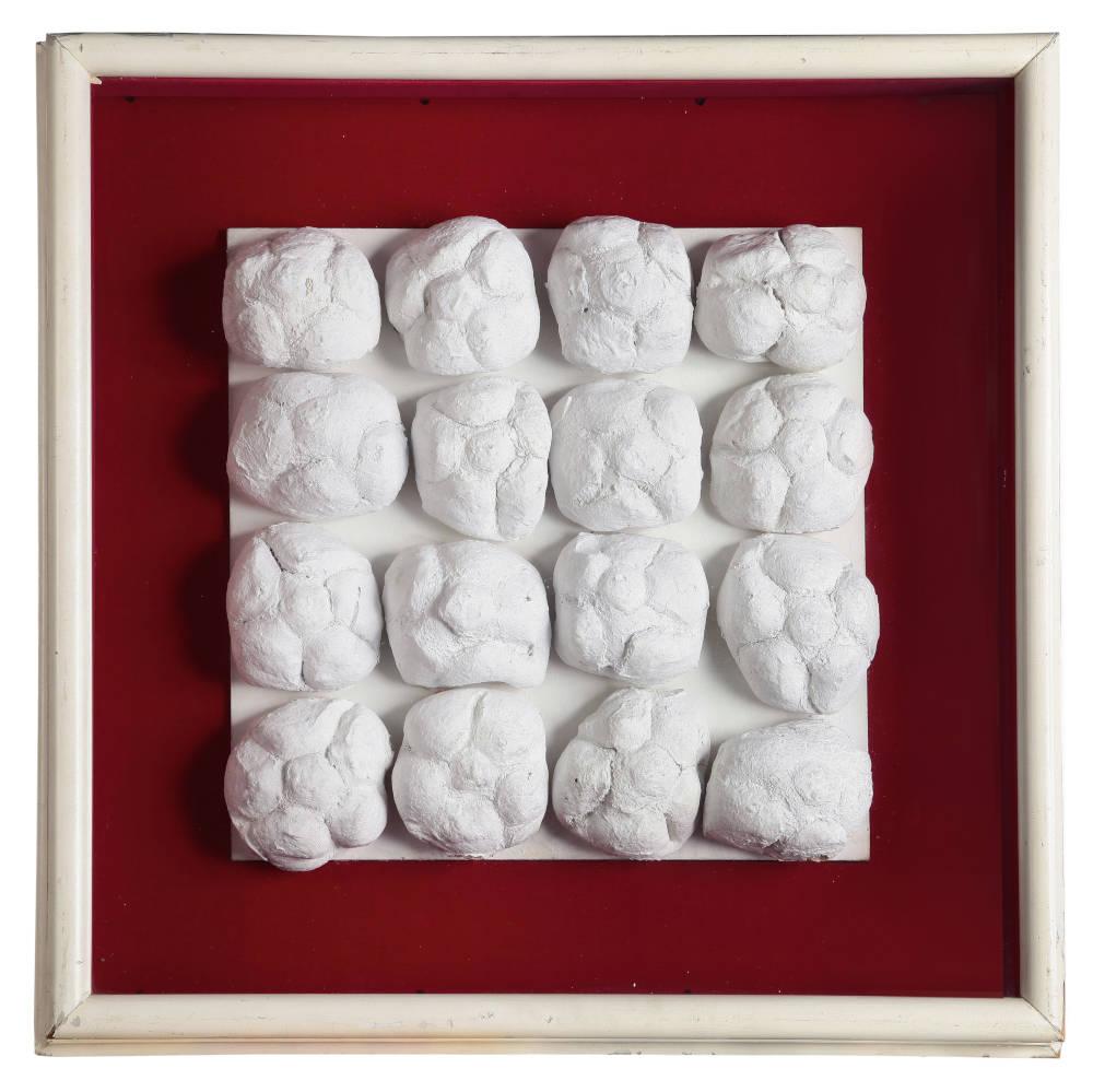 Piero Manzoni, Achrome, c. 1962. Bread and kaolin 31 x 31 cm / 12 1/4 x 12 1/4 in. Courtesy Fondazione Piero Manzoni, Milan and Hauser & Wirth. Photo: Bruno Bani © Fondazione Piero Manzoni, Milan