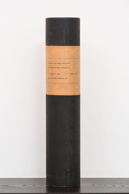 Piero Manzoni, Linea m 33,63 (Line 33,63 m), October 1959. Ink on paper, cardboard tube 41 x 8.5 cm / 16 1/8 x 3 3/8 in. Photo: Agostino Osio © Fondazione Piero Manzoni, Milano. Courtesy of the Foundation and Hauser & Wirth
