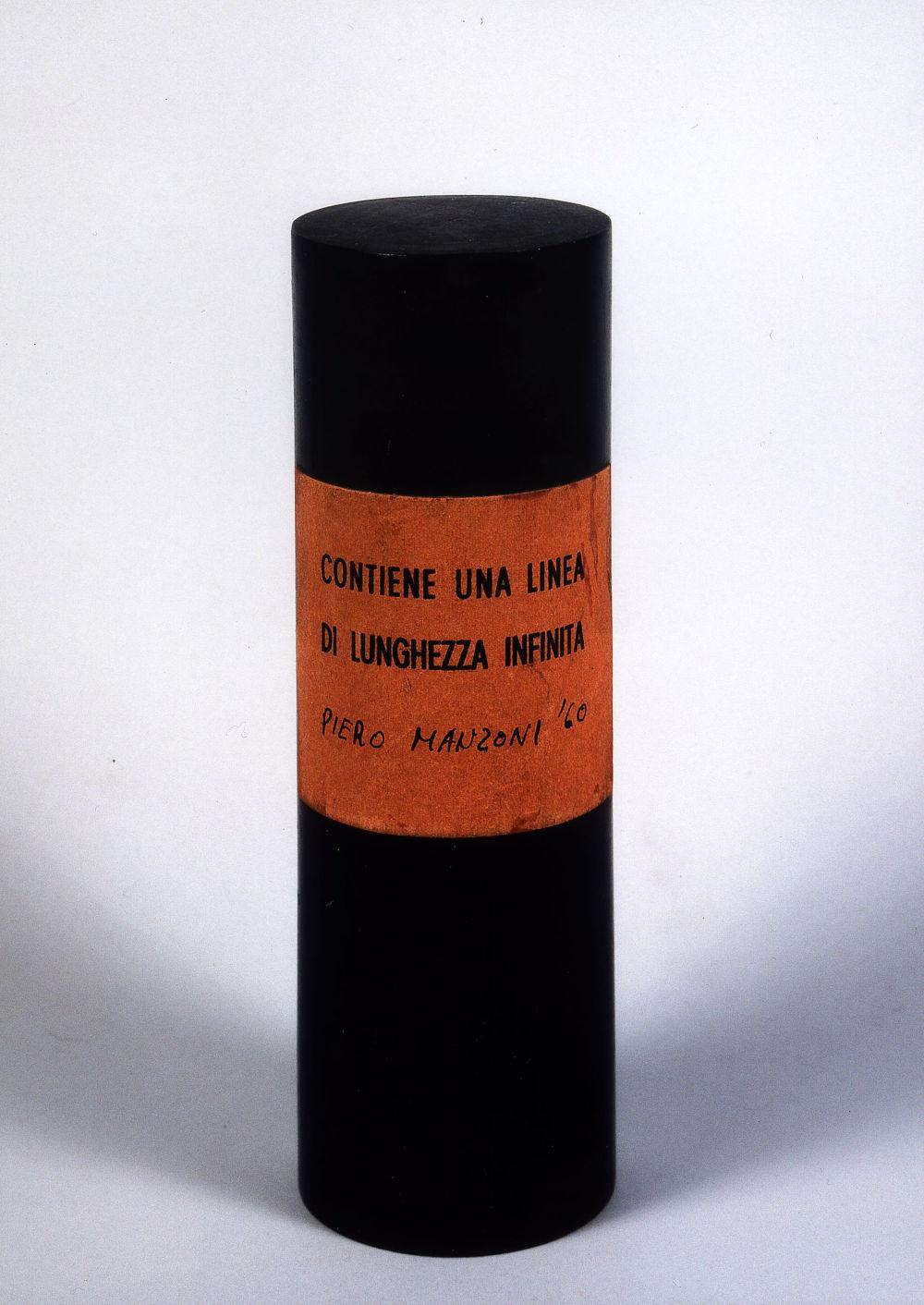 Piero Manzoni, Linea di lunghezza infinita (Line of endless length), 1960. Wooden cylinder, paper label 15 x 4.8 cm / 5 7/8 x 1 7/8 in © Fondazione Piero Manzoni, Milano. Courtesy of the Foundation and Hauser & Wirth