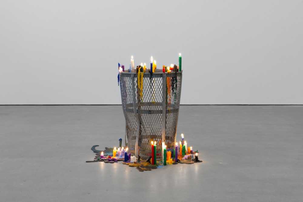 Mark Handforth, Trash Can Candles, 2019, beach trash can, candles, 90 x 60 x 60 cm, 35 3/8 x 23 5/8 x 23 5/8 ins. Photo: Eva Herzog. Courtesy the artist & Modern Art, London