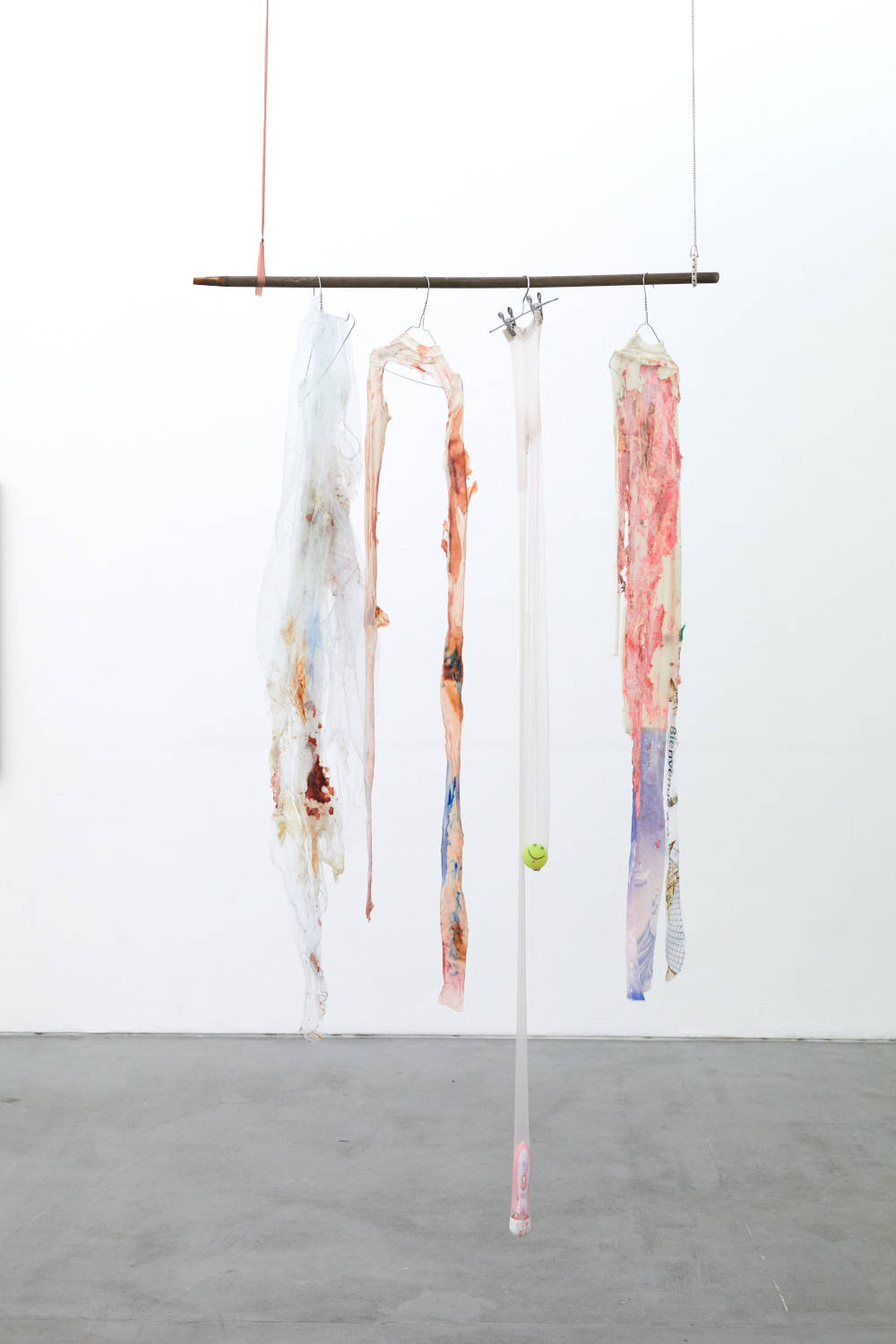 Mimosa Echard, Love moustiquaire, 2019. Synthetic fabric, acrylic glue, latex, necklace, bracelet, chain, ribbon, hanger, plastic ball, vibrator, pigment, ink 110 x 218 cm (43.31 x 85.83 inches)Courtesy of the artist & VNH Gallery. Photo: Johanna Benaïnous