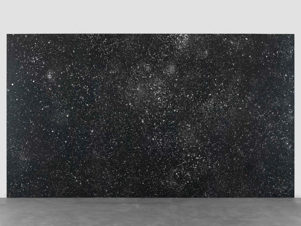 Ugo Rondinone, estermaizweitausendundzwölf, 2012. Acrylic paint on canvas, plexiglass plaque with caption 149.61 x 264.17 inches (380 x 671 cm) © Ugo Rondinone