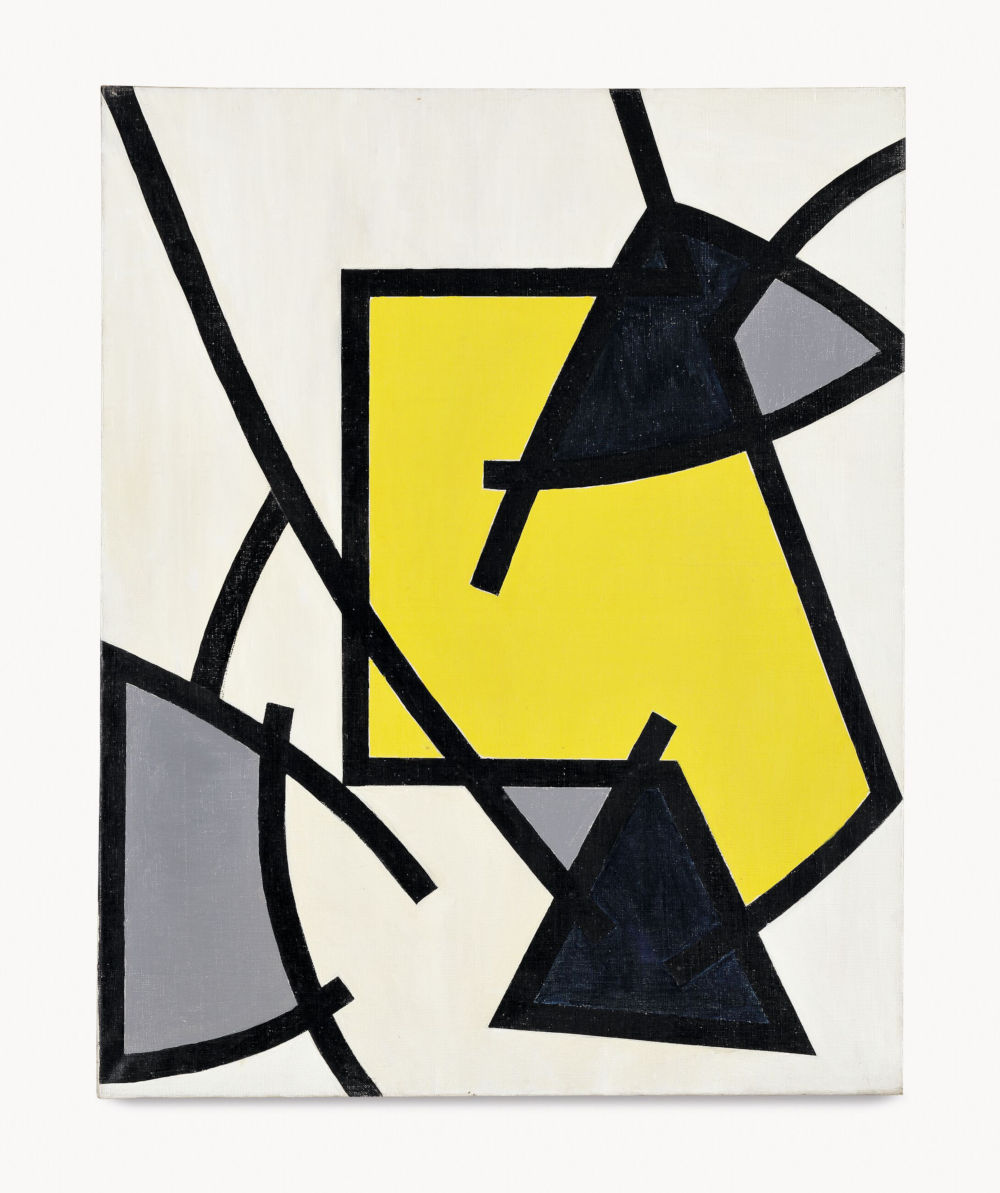 Soto, Untitled (Composition dynamique), 1951. Oil on canvas 83 x 67 x 2 cm / 32 5/8 x 26 3/8 x 3/4 in. Photo: David Bordes © 2019 Artist Rights Society (ARS), New York / ADAGP, Paris