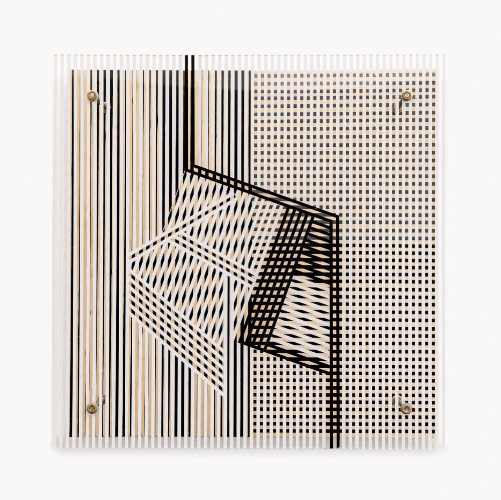 Soto, Untitled (Pour Maguy et Moamer), 1958. Paint on Plexiglas and wood 60 x 60 x 24 cm / 23 5/8 x 23 5/8 x 9 1/2 in. Photo: David Bordes © 2019 Artist Rights Society (ARS), New York / ADAGP, Paris