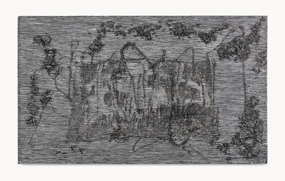 Soto, Untitled (Barroco negro), 1961. Mixed media on panel 95.3 x 158.8 x 15.2 cm / 37 1/2 x 62 1/2 x 6 in. Photo: Alfredo Gugig © 2019 Artist Rights Society (ARS), New York / ADAGP, Paris