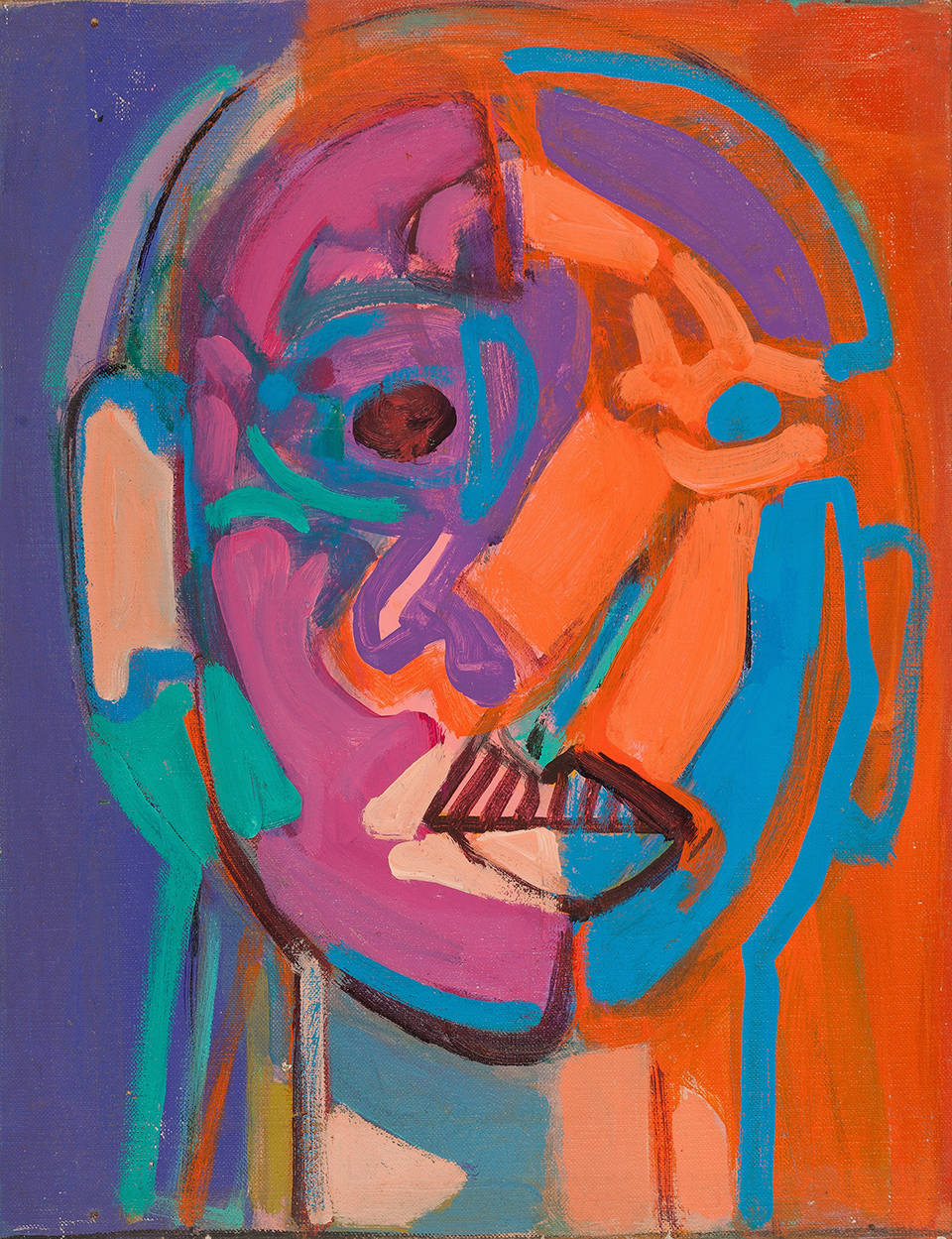 Susan Tepper, Untitled (From the Heads Series), c. 1978-1983. Acrylic on masonite 15.5 x 12 inches (39.4 x 30.5 cm)