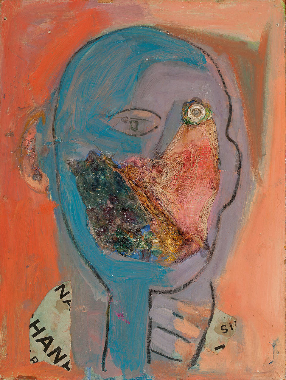 Susan Tepper, Untitled (from the Heads Series), c. 1978-1983. Acrylic, Conté crayon and collage on Masonite 16 x 12 inches (40.6 x 30.5 cm)