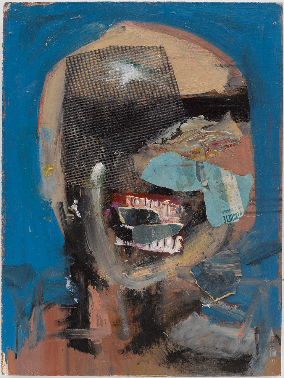 Susan Tepper, Untitled (from the Heads Series), c.1978-1983. Acrylic and collage on Masonite 16 x 12 inches (40.6 x 30.5 cm)