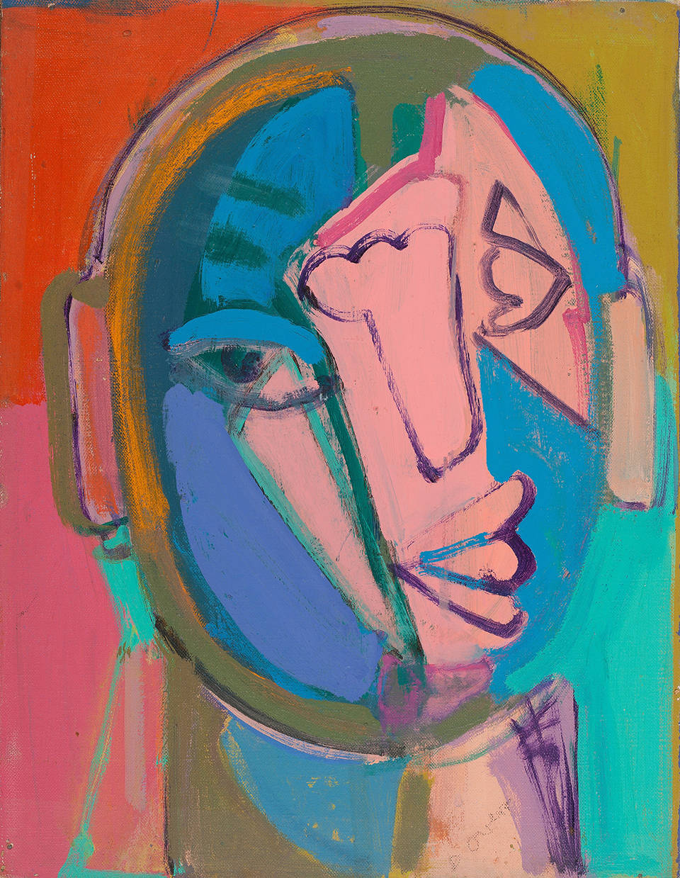 Susan Tepper, Untitled (from the Heads Series), c.1978-1983. Acrylic, Conté crayon and collage on Masonite 16 x 12 inches (40.6 x 30.5 cm)