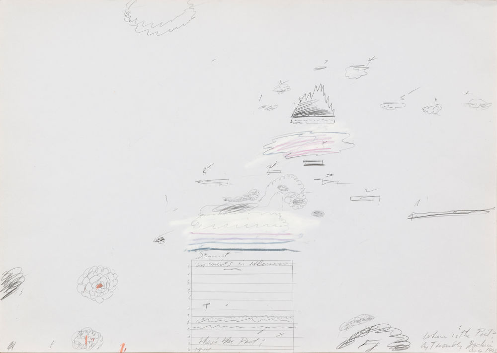 Cy Twombly, Untitled, 1960. Graphite, wax crayon and pen on paper 19 5/8 x 27 5/8 inches (49.8 x 70.1 cm) © Cy Twombly Foundation