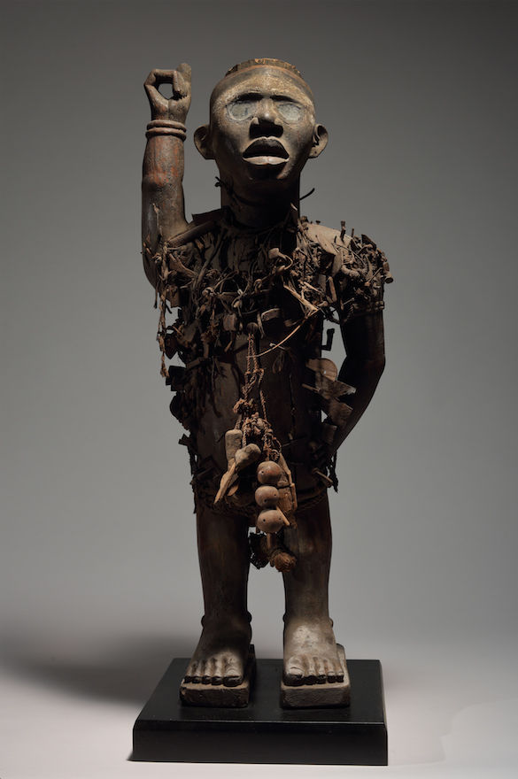 Yombe People, Loango Kingdom, Nail Power Figure, 19th century. Wood, iron, resin, glass, fiber, textile and pigment. Height: 31 7/8 inches (81 cm) Private Collection, Courtesy of Schweizer Premodern, New York. Photo © Schweizer Premodern, New York