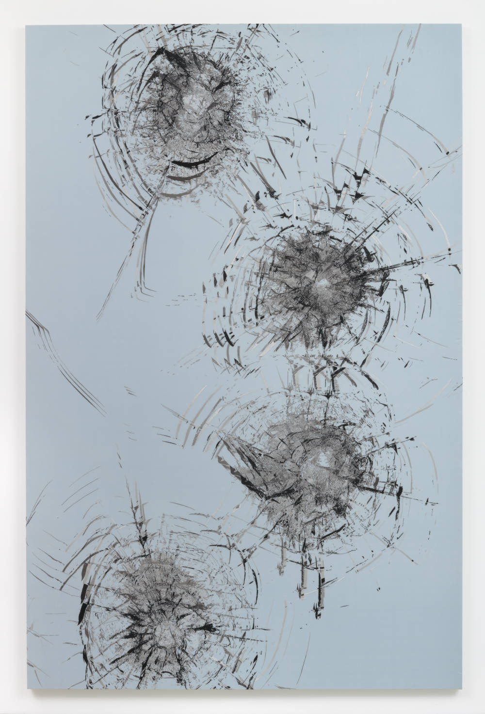 Zhao Zhao, Constellation 5, 2019. Embroidery on silk 117.32 x 77.16 inches (298 x 196 cm) Courtesy of the artist and Roberts Projects, Los Angeles, California
