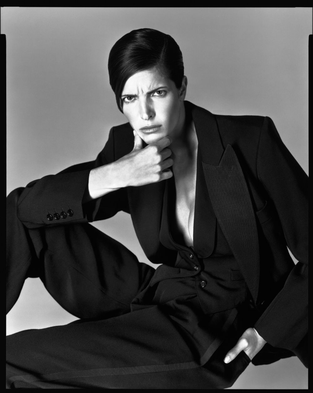Stephanie Seymour, tuxedo by Yves Saint Laurent, New York