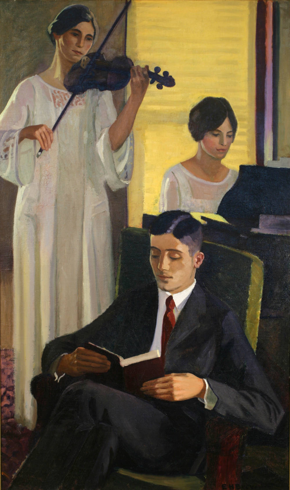Woman with Violin, Man Reading & Woman Playing Piano