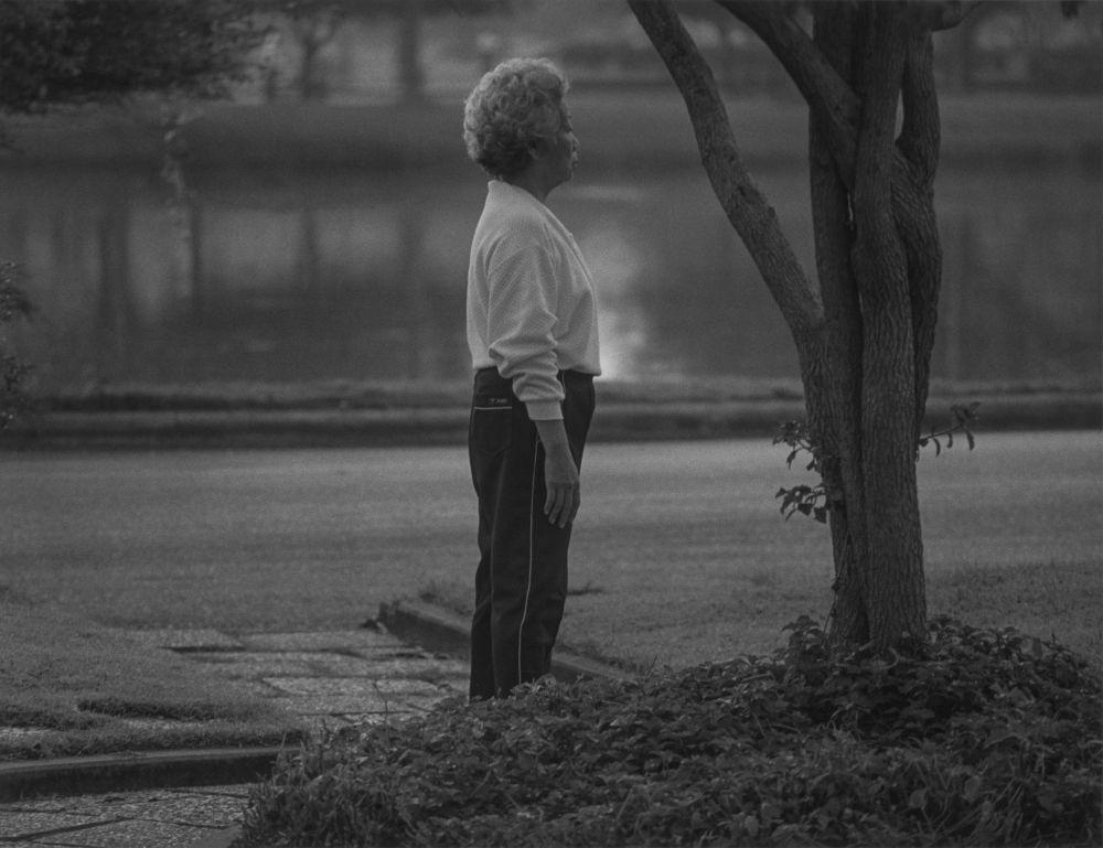 Woman standing, tree