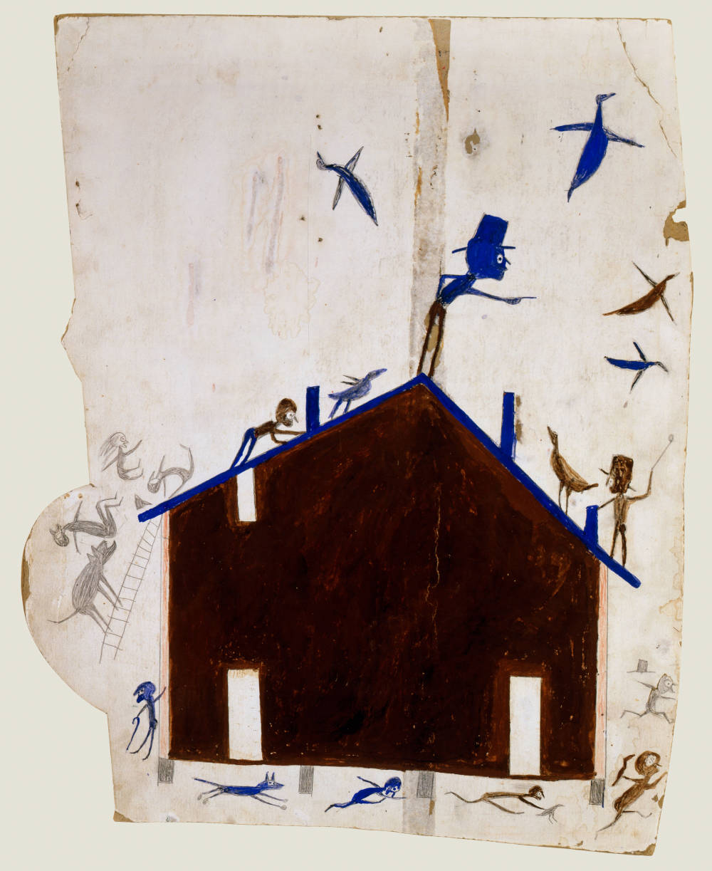 Brown House with Multiple Figures and Birds