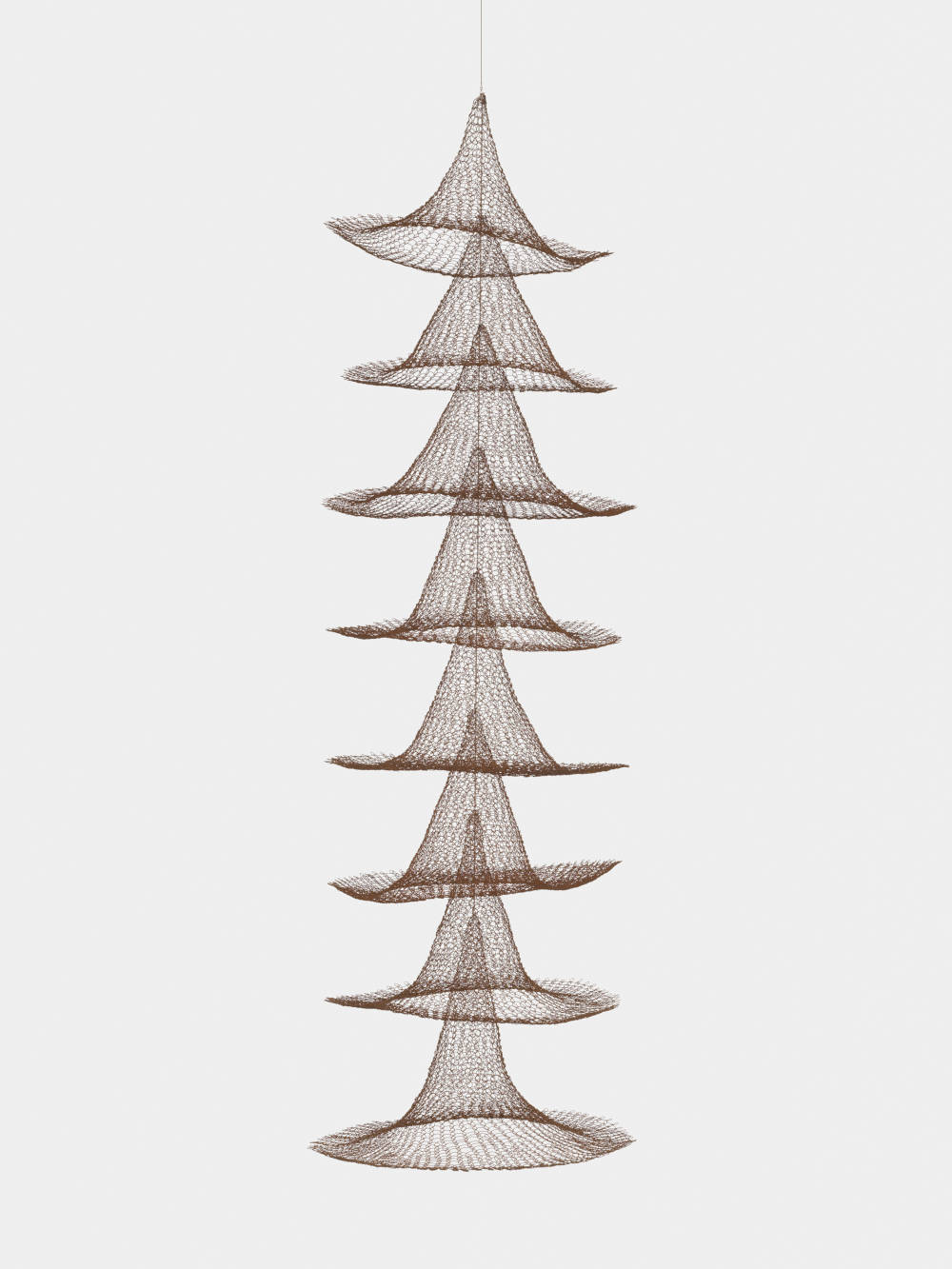 Untitled (S.030, Hanging Eight Separate Cones Suspended Through Their Centers)