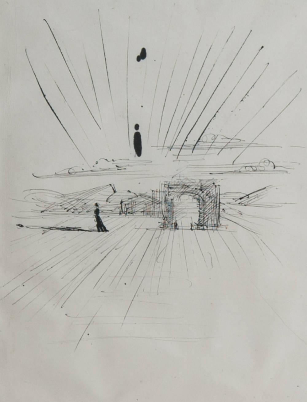 Paysage avec temple et arc de triomphe