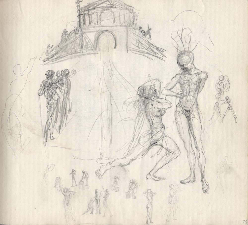 Personnages au dessous d'un temple