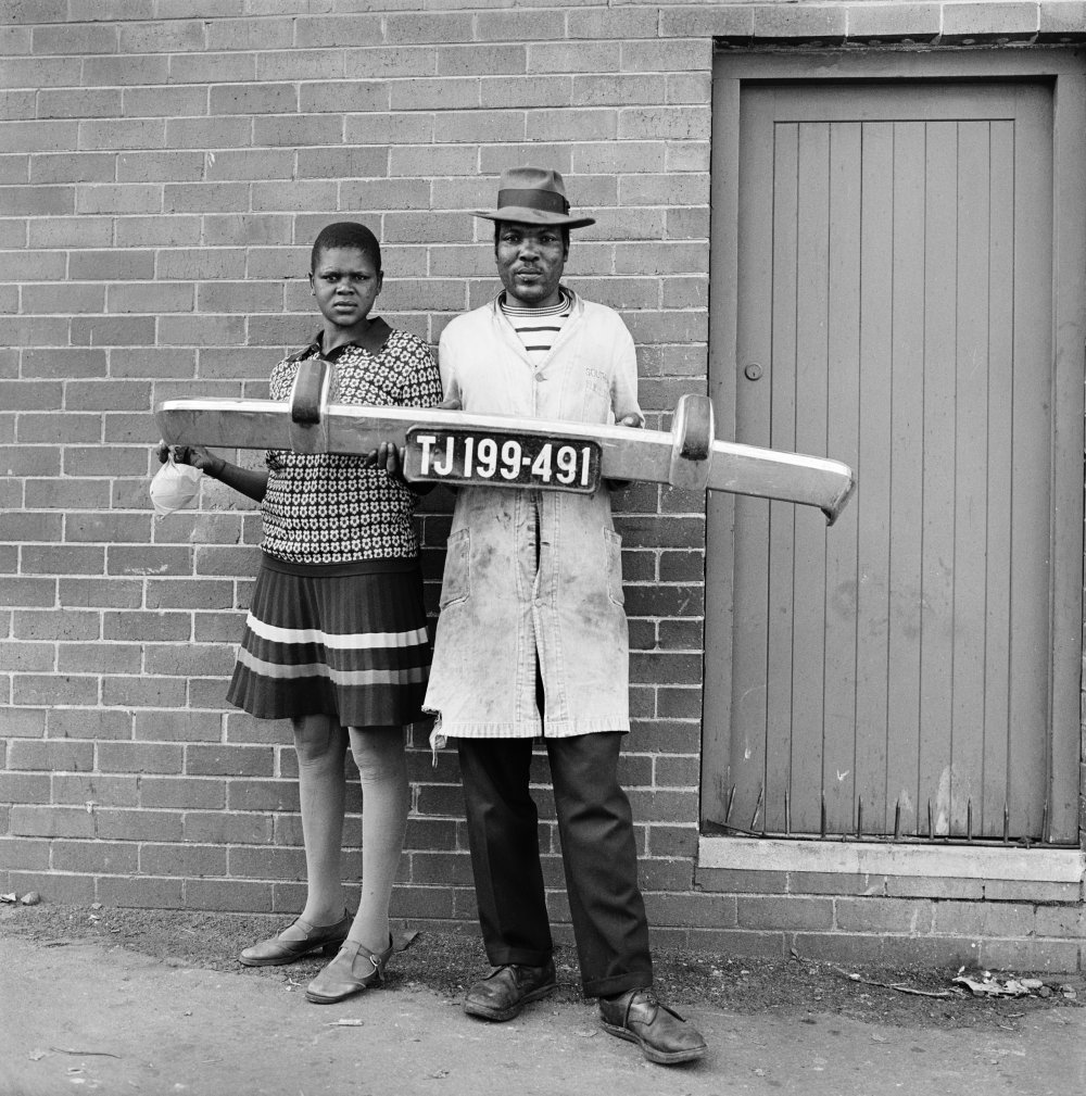 She said to him 'You be the driver and I'll be the madam,' then they picked up the fender and posed, Hillbrow, 1975