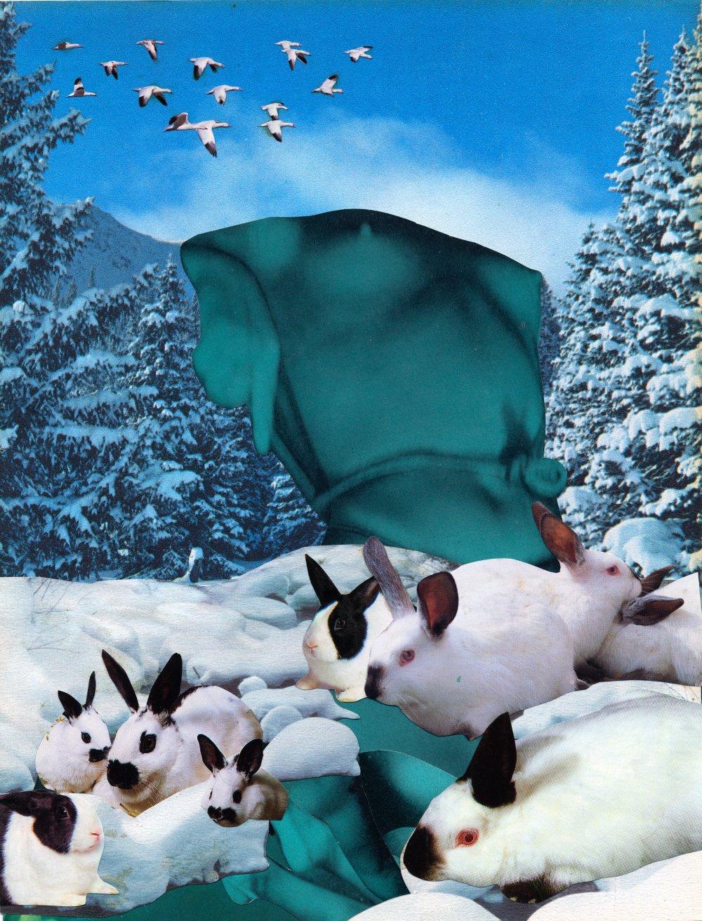Blue Nude with Snow Bunnies